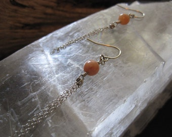 Peach Adventurine and Sterling Silver Earrings