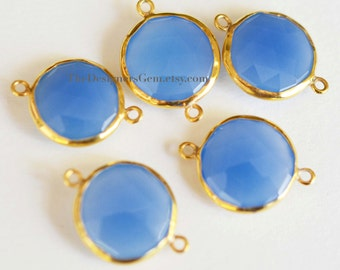 BLUE CHALCEDONY Round Coin Vermeil Gold Connector 22x16mm