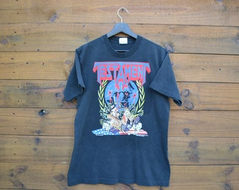 "1990 Testament T-Shirt Size Medium ""Perilous Nations"" Brockum Licensed Imagine Transfers Thrash Metal Rock Made in USA"