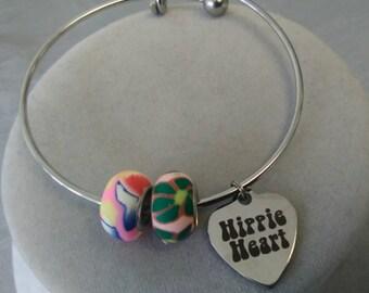 Hippie Heart Steel Bangle Bracelet