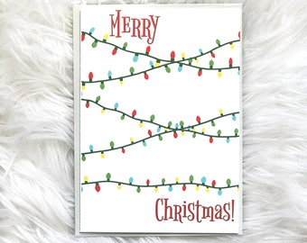 String Lights Card, Gift for Grandparents, Merry Christmas Cards, Card for Mom, Christmas Lights Card, Card for Parents, Cute Christmas Card