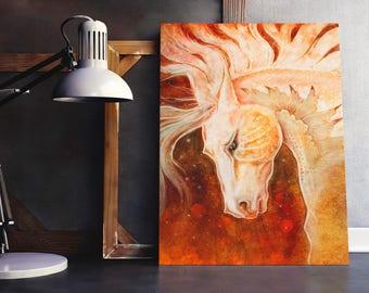 Magical Horse Print, White Horse Art Print, Equine Art, Cream Horse Art, Fantasy Horse Art, Equestrian Art