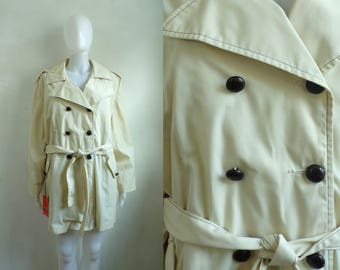 60s trench coat water stain repellent rain coat double breasted belted canvas trench removable fleece lining womens xl