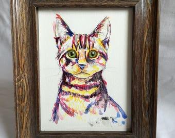 Tabby cat, A4 watercolour print, colourful, pet, pet portraits, home decor, wall art, office art, gift, cat art, cat painting, cat print