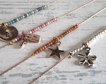Dainty Ombre Bracelet, Gold Minimalist Beaded Thin Bracelet, Delicate & Elegant Gift for Her, Feminine Bracelet