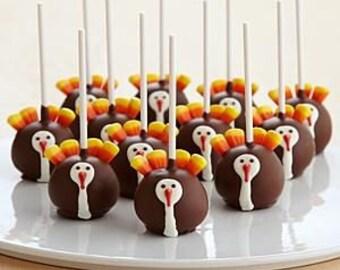 Thanksgiving Turkey Cake Pops Festive Holiday 1 Dozen