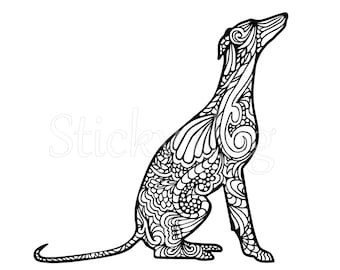 Whippet sitting art sticker
