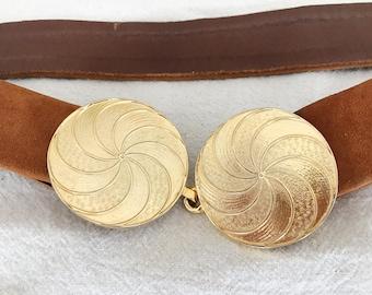 Vintage Leather Belt with Gold Medallion Disc Closure