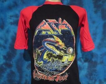 Small** Deadstock vintage 80s ASIA TOUR Jersey T-Shirt rock metal Concert dragon raglan concert soft thin rocker