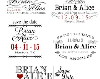 Digital Wedding Save the Date Overlays - Editable Photo Card Template - Adobe Photoshop PSD - Instant Download