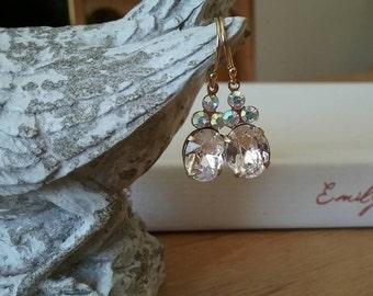 Crystal Earrings - Bridal Clear Oval Earrings - Wedding Jewelry - 14k Gold Filled Earrings - Vintage Crystal Earrings - Bridal Jewellery