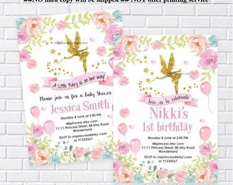 Fairy party, Fairy Birthday, fairy baby shower, gold fairy, garden party, fairy invitation, Birthday invitation, magical fairy -card 1302