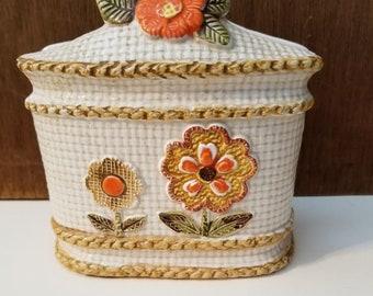 1970s Ceramic Napkin Holder ~ Retro Flowers