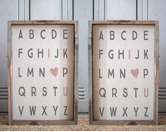 A B C  // 17 X 11 Handmade Sign