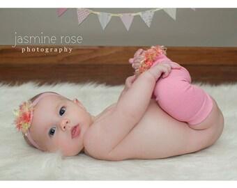 Pink Lime Yellow Baby Leg Warmers and Headband Set
