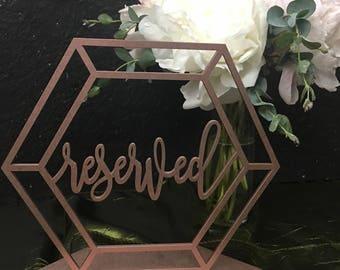 Reserved Sign, Reserved Table Sign, Reserved Sign for Wedding, Wedding Reserved Sign, geometric Reserved Sign, Reserved Wedding Sign,