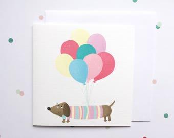 Sausage Dog Birthday Card - Dachshund Birthday Card - Girls Birthday Card - Birthday Card For Her - Birthday Card For Dog Lover