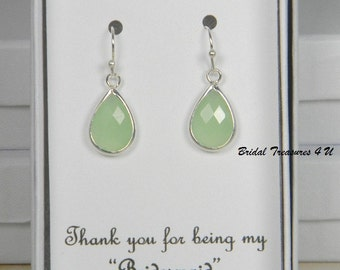 Apple Green / Silver Bridesmaids Teardrop Earrings, Bridesmaid Gift, Apple Green Mint Bridesmaids Earrings, Personalize Note - TD