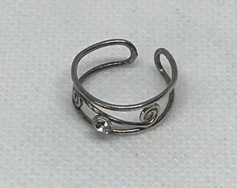 Silver Tested With Bling Toe Ring