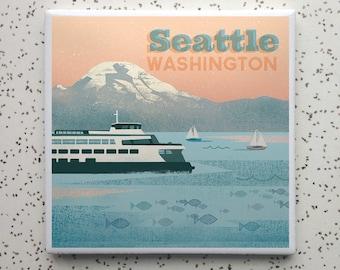 Seattle Ferry Tile Coaster