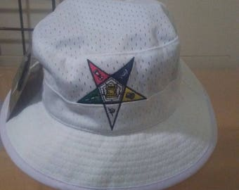 Order of The Eastern Star - White Bucket Hat