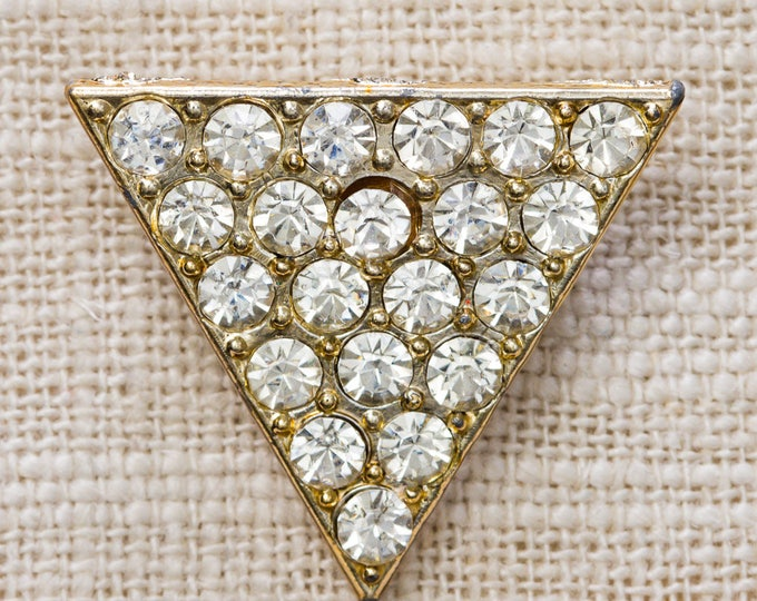 Gold Rhinestone Triangle Brooch Pave Setting Sparkly Vintage Broach Pin 7YY