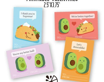 Taco and Avocado Valentine Card Kids Printable INSTANT DOWNLOAD PDF