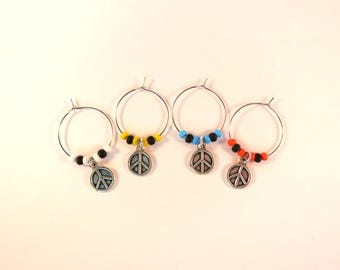Peace Sign Wine Charms / Drink Markers / Wine Glass Jewelry / Hippie Inspired / Hostess Add-On Gift / Beaded Charms / Bar Accessories / Fun