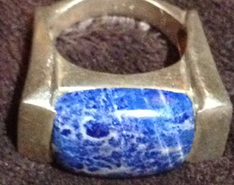 Large Vintage Sterling Silver & Sodalite Ring