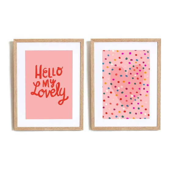 SALE Set of 2  Hello My lovely in Pink Wall art prints nursery illustration kids decor