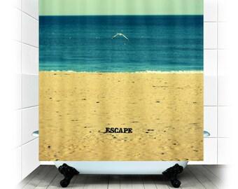 Escape - rideau de douche tissu - photographie, salle de bains, maison, décoration, baignoire, nature, plage, mer, océan, RDelean
