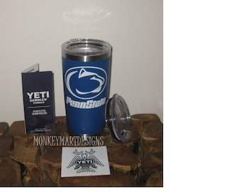 """YETI RAMBLER custom made with """"PennState"""" logo,20oz Yeti Choose color,Personalized cup powder coated blue"""