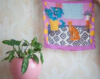 "Square Scarf 60cm printed in our ""Plants and cats"" scenery illustration in clashing prints"