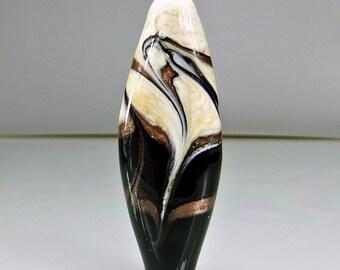 Black Ivory Gold Lampwork Focal Bead SRA Beads