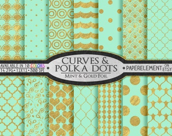 Printable Mint and Gold Scrapbook Paper: Gold and Mint Scrapbook Paper, Cool Mint and Gold Paper, Mint and Gold Polka Dot Digital Paper