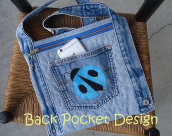 Aqua Ladybug Quilted Waistband Pocket Hip Purse made with recycled denim