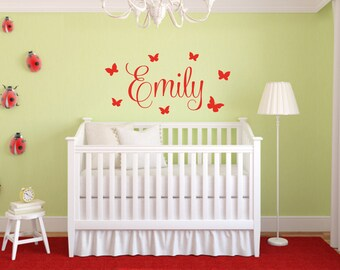 Butterfly Name Decal - Butterfly Wall Decal - Butterfly Wall Decor - Girls Name Decal - Nursery Wall Decor - Vinyl Wall Decal