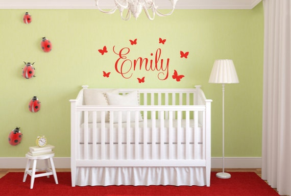 Butterfly Name Decal Butterfly Wall Decal Butterfly Wall