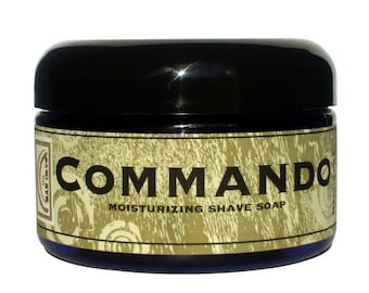SHAVE Soap in a Jar - COMMANDO - Unscented Shaving Soap with Bentonite Clay and Shea Butter by Man Cave Soapworks