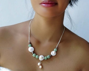 Boho Shell Necklace, Lava Stone Necklace,  Wedding Collar 'Lagoon'