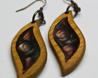 Handmade wooden leaf earrings