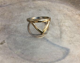 Gold Band Triangle Band Gold Rings Gold Bands Alternative Band Geometric Ring Bands