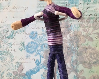 Pocket doll ~ Hand painted, hand crafted OOAK mini doll, male with blonde hair, in shades of indigo