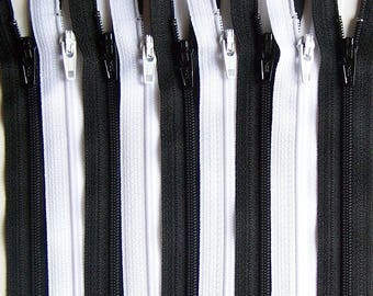 SALE Wholesale YKK Zipper 12 Inch Black and White Bundle (50) Pieces- Bulk Zippers