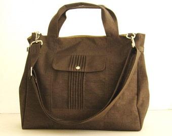 Sale - Water-Resistant Bag in Chocolate Brown- messenger bag, school bag, tote, purse, gym bag - KATE