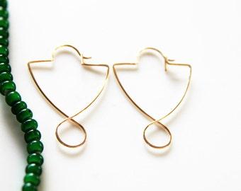 Unique Shield Gold Hoop Earrings