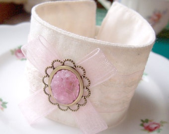 Pink Fabric Bracelet Cuff - Jewellery Jewelry Vintage Boho Chic Bohemian - For Her Women Teens Cameo Pastel Lace Ribbon dspdavey Gift Bow