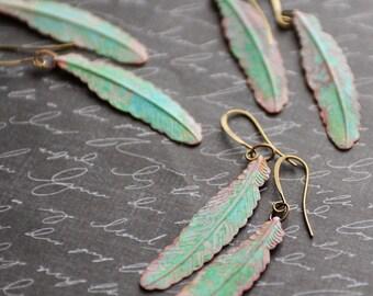 Feather Earrings, Tribal Earrings, Rustic Fall Boho Earrings, Green Patina Earrings, Verdigris Jewelry, Green Earrings, Bohemian Style SRAJD
