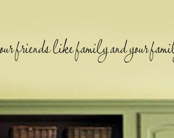 Treat your Friends like Family and your Family like Friends  Kitchen Home Vinyl Wall Lettering Decal LARGE 52Wx5H