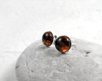 Amber Stud Earrings, Dainty Amber Stud Earrings, Sterling Silver Gemstone Stud Earrngs, Gift for Her, Solar Plexus Chakra, Amber Jewelry